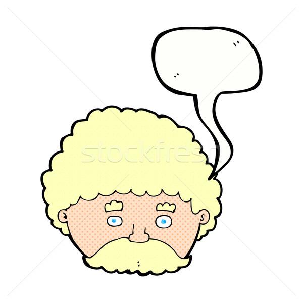 Cartoon человека усы речи пузырь стороны лице Сток-фото © lineartestpilot