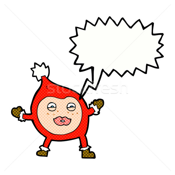 cartoon funny christmas creature with speech bubble Stock photo © lineartestpilot