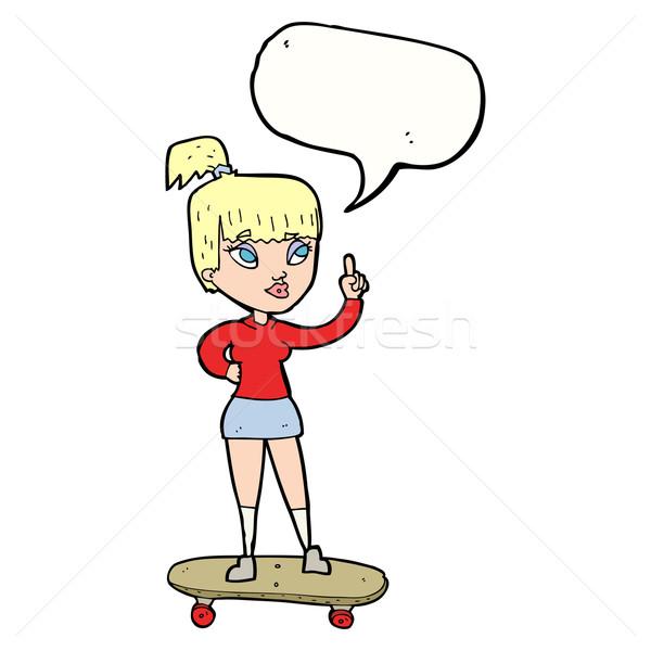 Rajz görkorcsolyázó lány szövegbuborék nő kéz Stock fotó © lineartestpilot