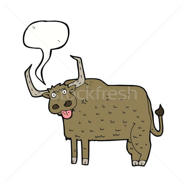 Karikatur haarig Kuh Sprechblase Hand Design Stock foto © lineartestpilot