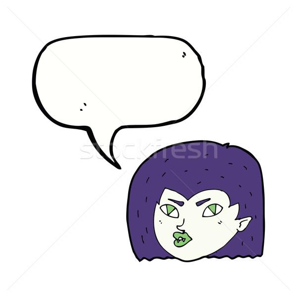 Cartoon wampira twarz dymka kobieta strony Zdjęcia stock © lineartestpilot