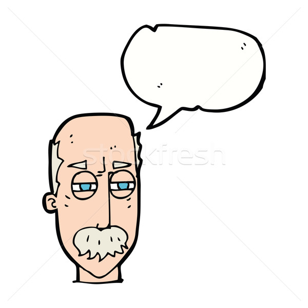 cartoon annoyed old man with speech bubble Stock photo © lineartestpilot