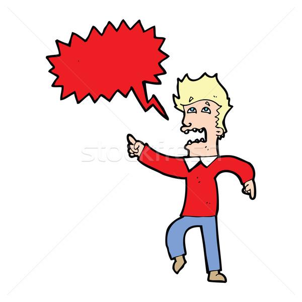 Cartoon испуганный человека указывая речи пузырь стороны Сток-фото © lineartestpilot