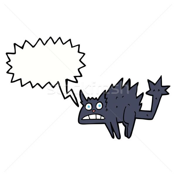 Cartoon przestraszony dymka strony kot Zdjęcia stock © lineartestpilot