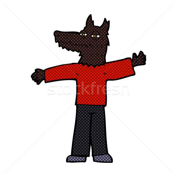 комического Cartoon счастливым волка человека ретро Сток-фото © lineartestpilot