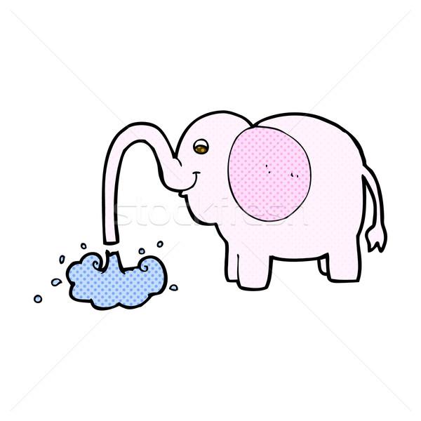 コミック 漫画 象 水 レトロな ストックフォト © lineartestpilot