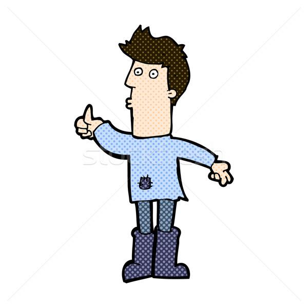 Cômico desenho animado pobre homem retro Foto stock © lineartestpilot