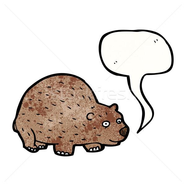 Cartoon wombat tekstballon textuur hand gelukkig Stockfoto © lineartestpilot