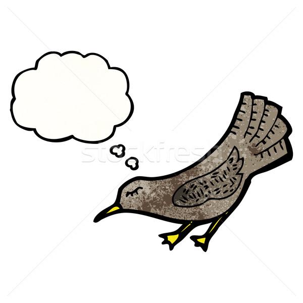 漫画 カラス 鳥 話し レトロな 思考 ストックフォト © lineartestpilot