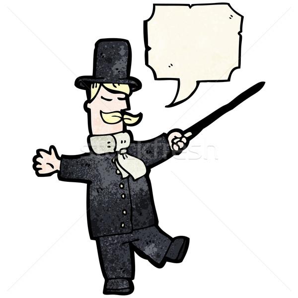 Cartoon classe supérieure homme parler rétro classe Photo stock © lineartestpilot