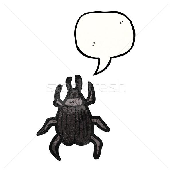 Rajz bogár szövegbuborék retro rajz rovar Stock fotó © lineartestpilot