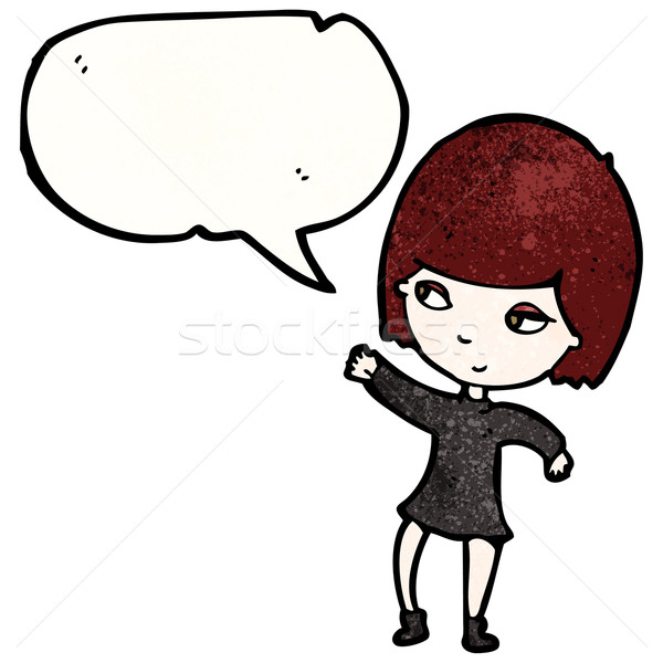 cartoon goth girl with speech bubble Stock photo © lineartestpilot