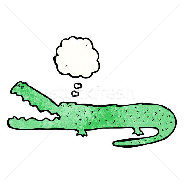 Cartoon crocodile bulle de pensée rétro dessin idée Photo stock © lineartestpilot