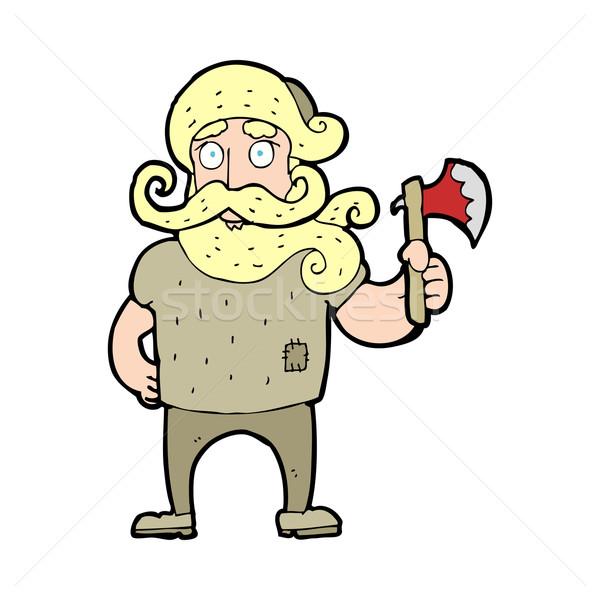 Cartoon лесоруб топор стороны человека дизайна Сток-фото © lineartestpilot