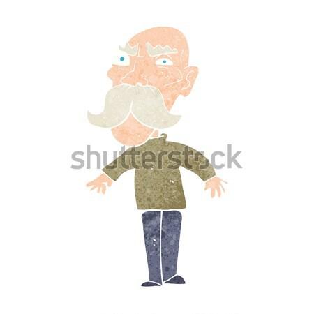 Rajz mérges idős férfi kéz férfi terv Stock fotó © lineartestpilot