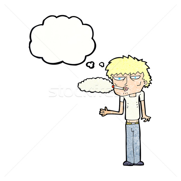 cartoon smoker with thought bubble Stock photo © lineartestpilot