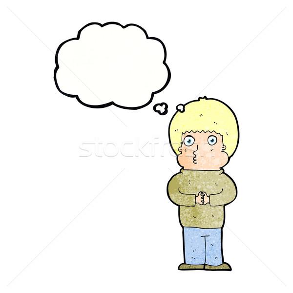 Cartoon shy ragazzo bolla di pensiero mano uomo Foto d'archivio © lineartestpilot