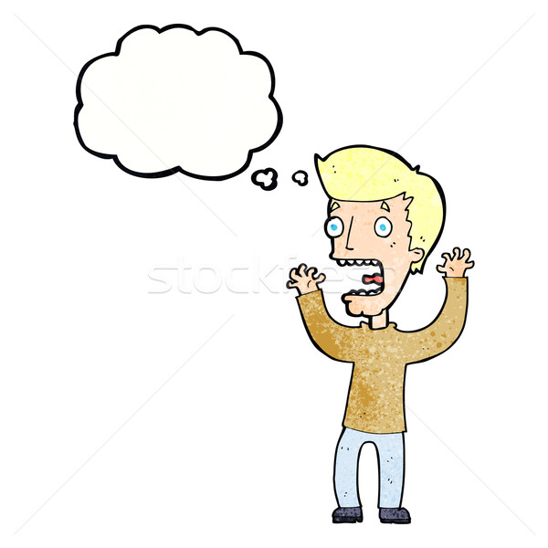 Cartoon bange man gedachte bel hand ontwerp Stockfoto © lineartestpilot