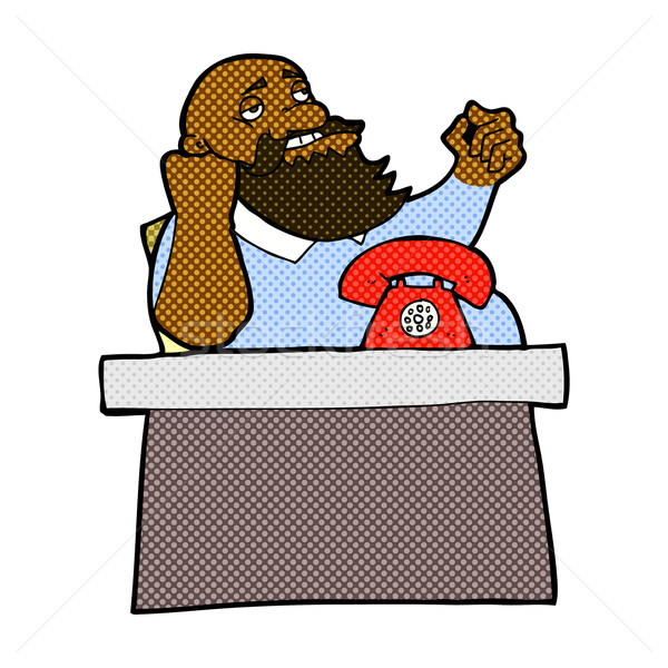 Komik karikatür kibirli patron adam Retro Stok fotoğraf © lineartestpilot