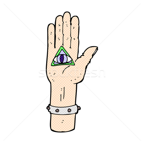 comic cartoon spooky hand symbol Stock photo © lineartestpilot
