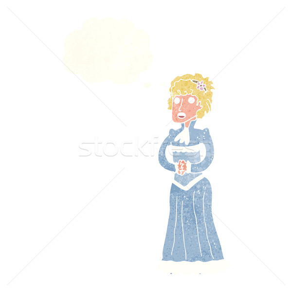 cartoon shocked victorian woman with thought bubble Stock photo © lineartestpilot