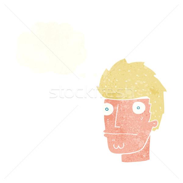 Cartoon nervioso hombre burbuja de pensamiento mano diseno Foto stock © lineartestpilot