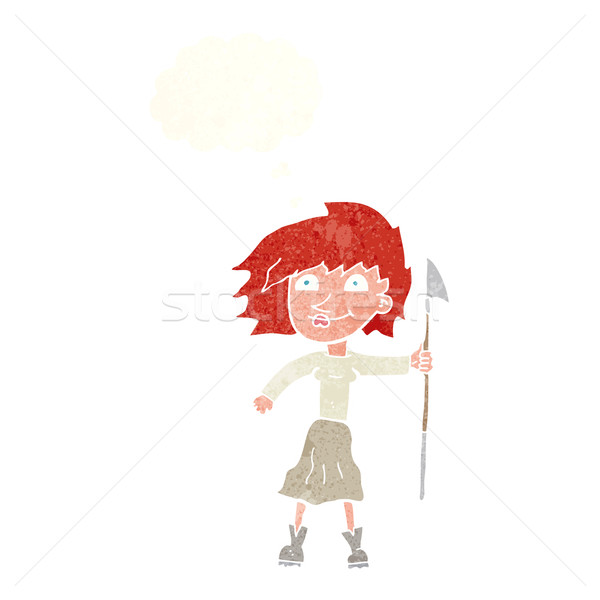 cartoon woman with spear with thought bubble Stock photo © lineartestpilot