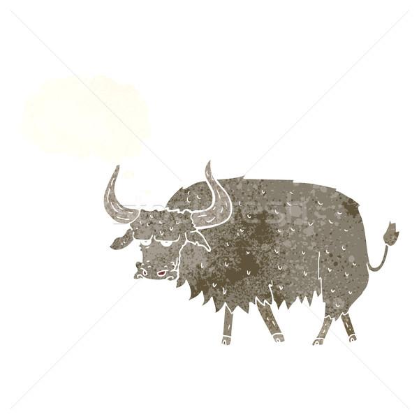 Cartoon infastidito peloso mucca bolla di pensiero mano Foto d'archivio © lineartestpilot