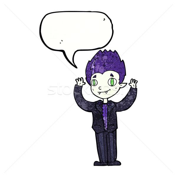 cartoon vampire boy with speech bubble Stock photo © lineartestpilot