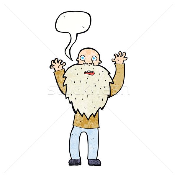Cartoon spaventato vecchio barba fumetto mano Foto d'archivio © lineartestpilot