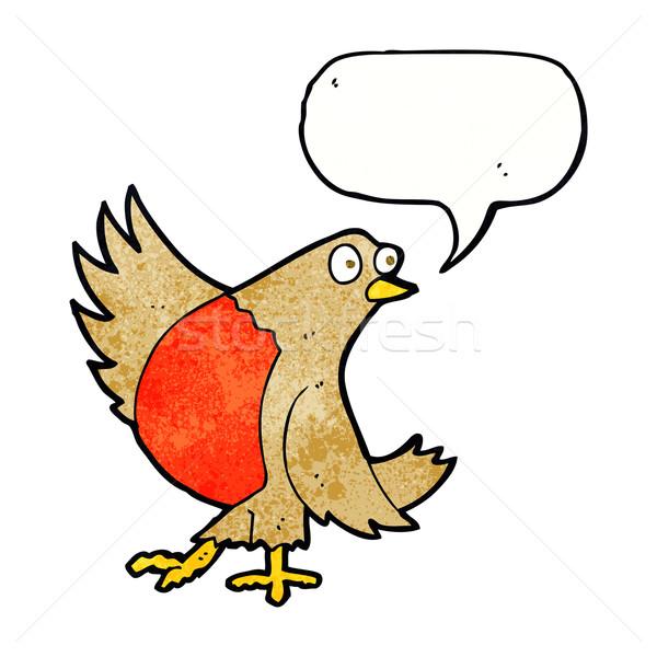 cartoon dancing robin with speech bubble Stock photo © lineartestpilot
