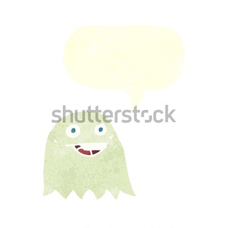 funny cartoon ghost with speech bubble Stock photo © lineartestpilot