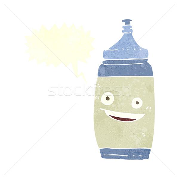 Cartoon une bouteille d'eau bulle eau main design Photo stock © lineartestpilot