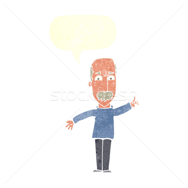 cartoon man issuing stern warning with speech bubble Stock photo © lineartestpilot