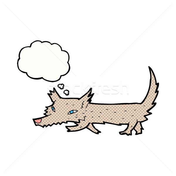 Karikatür küçük kurt düşünce balonu el dizayn Stok fotoğraf © lineartestpilot
