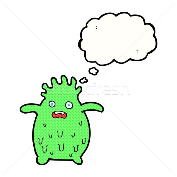 Cartoon смешные слизь монстр мысли пузырь стороны Сток-фото © lineartestpilot