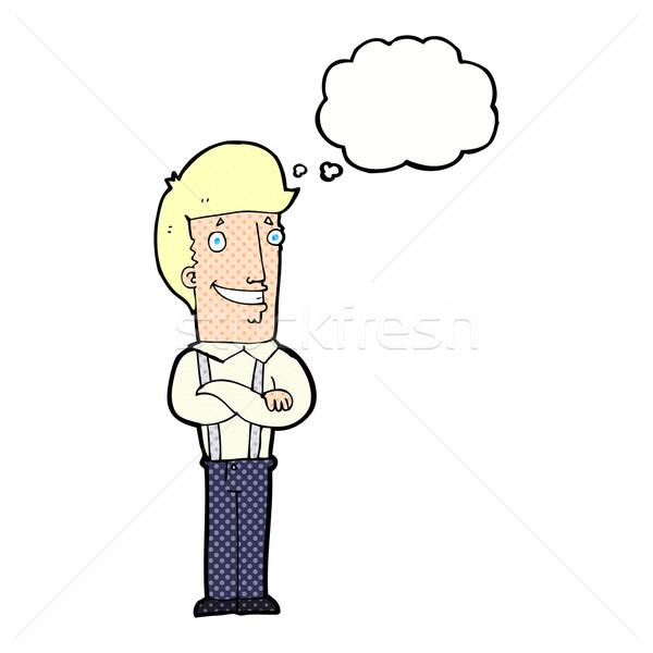 Karikatür gururlu adam düşünce balonu el dizayn Stok fotoğraf © lineartestpilot