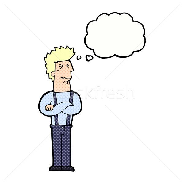 Karikatür rahatsız adam düşünce balonu el dizayn Stok fotoğraf © lineartestpilot