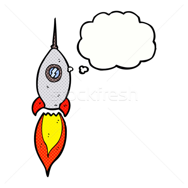 cartoon spaceship with thought bubble Stock photo © lineartestpilot