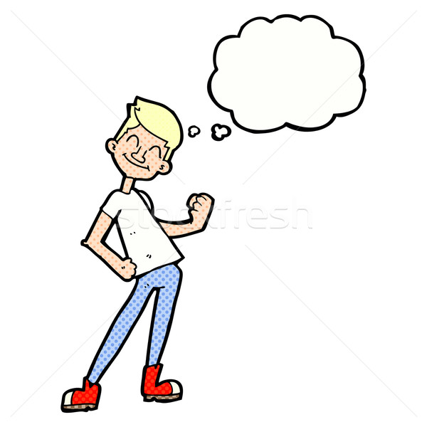 Cartoon uomo bolla di pensiero mano design Foto d'archivio © lineartestpilot