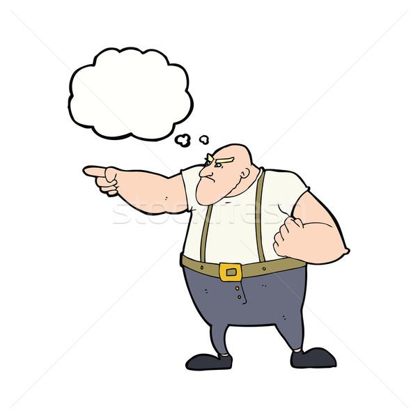 Karikatür öfkeli sert adam işaret düşünce balonu Stok fotoğraf © lineartestpilot