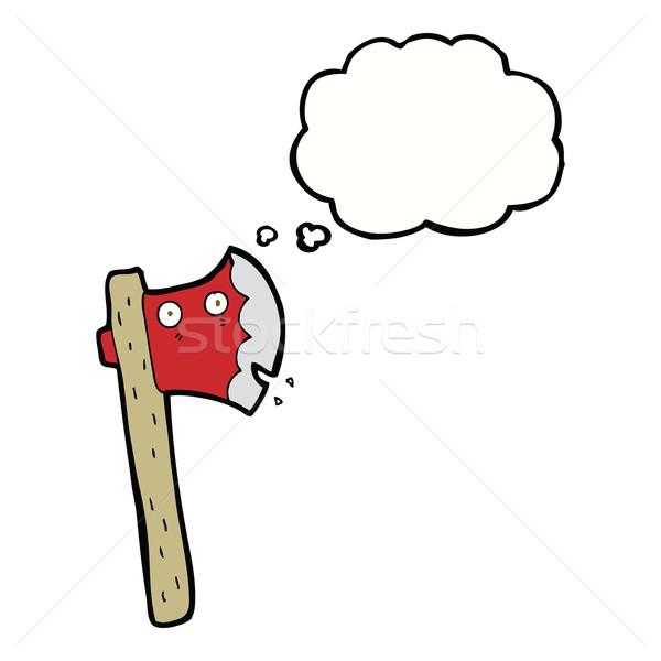 Desenho animado machado balão de pensamento mão projeto louco Foto stock © lineartestpilot