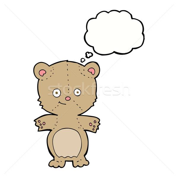 Desenho animado ursinho de pelúcia balão de pensamento mão projeto animais Foto stock © lineartestpilot