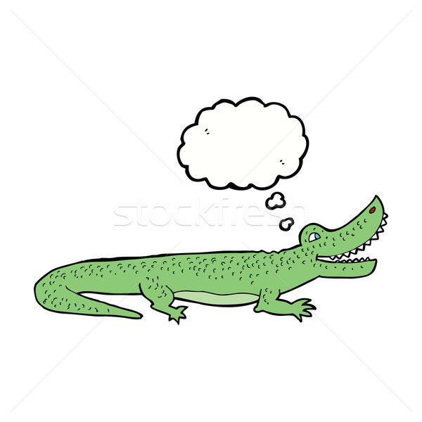 Cartoon heureux crocodile bulle de pensée main design Photo stock © lineartestpilot