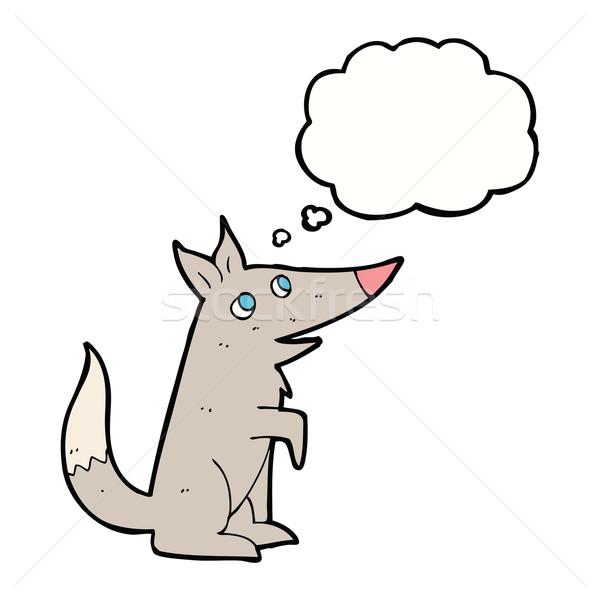 Cartoon wolf welp gedachte bel hand ontwerp Stockfoto © lineartestpilot