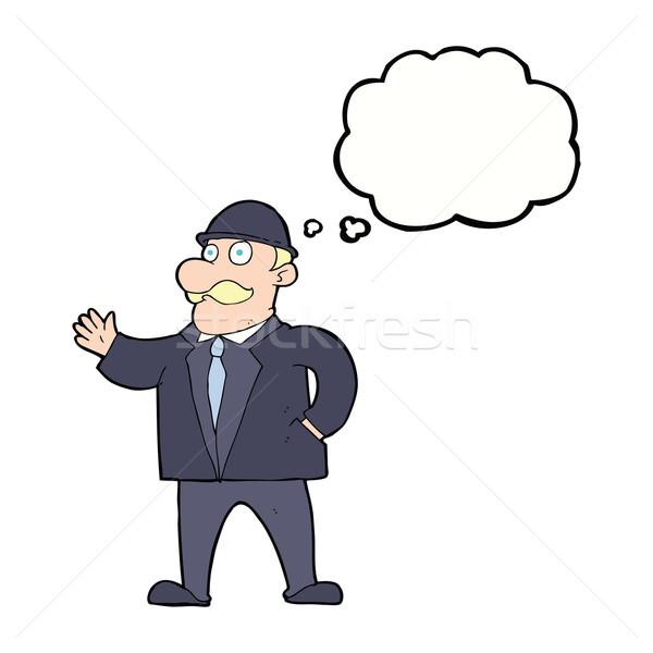 Cartoon деловой человек мысли пузырь бизнеса стороны Сток-фото © lineartestpilot