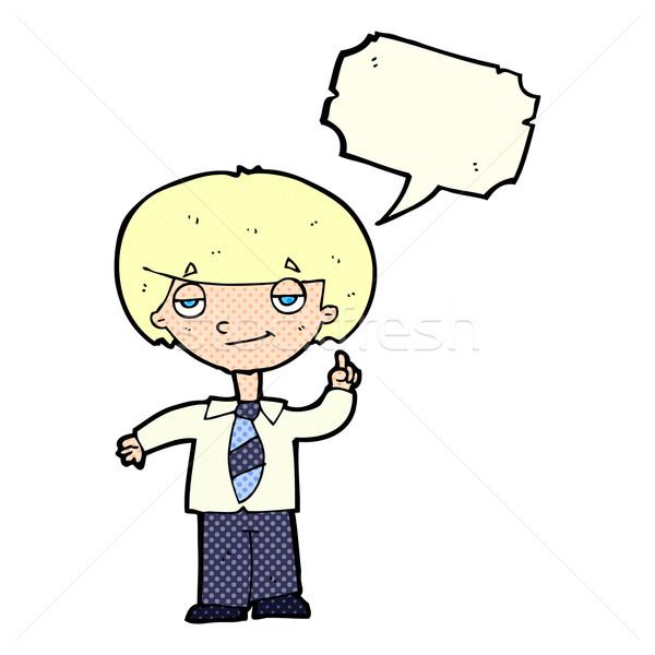 Rajz iskolás fiú kérdés szövegbuborék kéz férfi Stock fotó © lineartestpilot