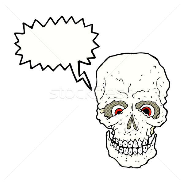 cartoon spooky skull with speech bubble Stock photo © lineartestpilot