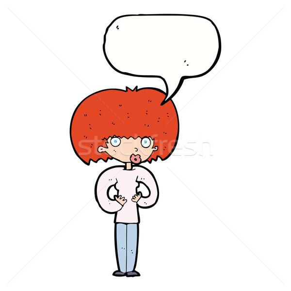 Cartoon verwonderd vrouw tekstballon hand oog Stockfoto © lineartestpilot