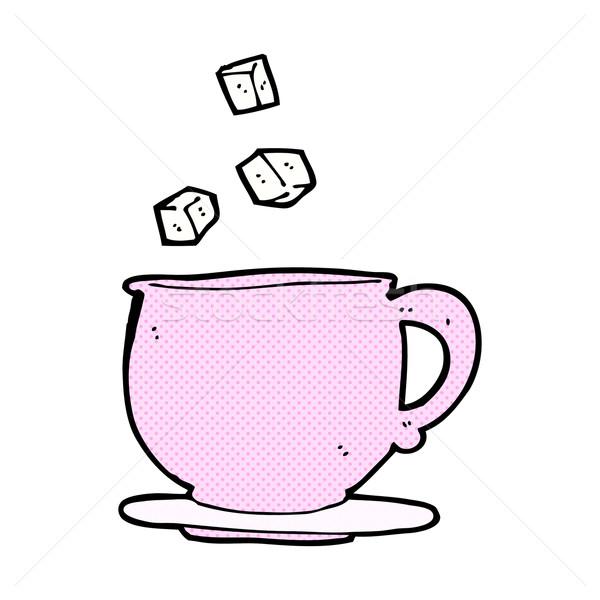 Cómico Cartoon taza de té terrones de azúcar retro Foto stock © lineartestpilot